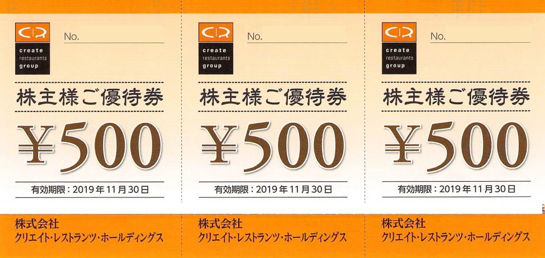 クリエイト・レストランツ・ホールディングス(3387)株主優待